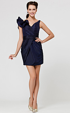 Sheath/Column V-neck Short/Mini Taffeta Bridesmaid Dress