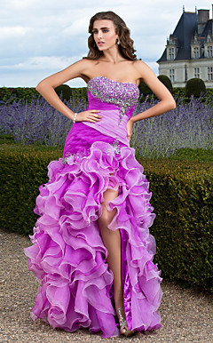 Trumpet/Mermaid Sweetheart Floor-length Organza Evening Dress With Split Front And Cascading Front