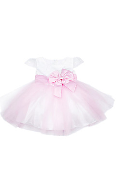 A-line Short Sleeve Mini length Tulle &amp; Satin Flower Girl Dress With Embroidery &amp; Bow