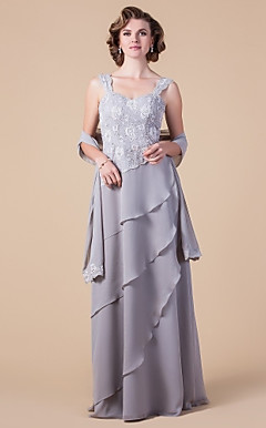 Sheath/Column Straps Floor-length Lace And Chiffon Mother of the Bride Dress With A Wrap