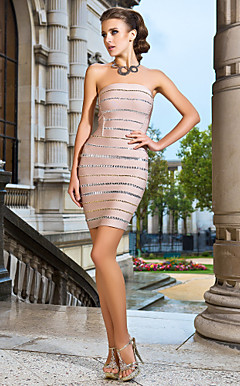 Sheath/Column Strapless Short/Mini Bandage Dress With Beading