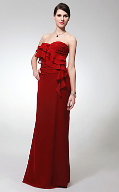 Sheath/Column Sweetheart Floor-length Chiffon Bridesmaid/Evening Dress