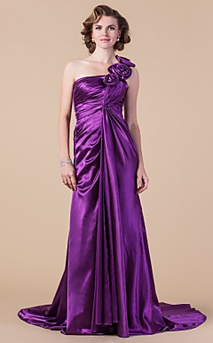 Sheath/Column One Shoulder Court Train Stretch Satin Mother of the Bride Dress
