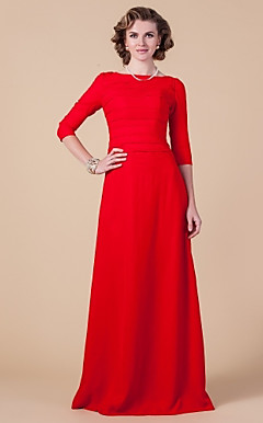 Sheath/Column Bateau Floor-length Chiffon Mother of the Bride Dress