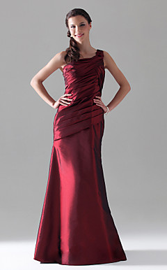 A-line One Shoulder Floor-length Taffeta Bridesmaid Dress