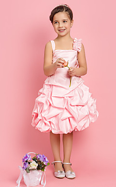 A-line Princess Square Tea-length Satin Flower Girl Dress