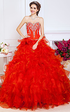 Ball Gown Sweetheart Floor-length Organza Evening Dress With Beading And Flower(s)