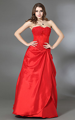 A-line Sweetheart Floor-length Taffeta Evening/Prom Dress
