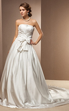 A-line Princess Strapless Stretch Satin Chapel Train Wedding Dress