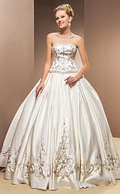 Two-In-One Ball Gown Strapless Satin Floor-length Wedding Dress
