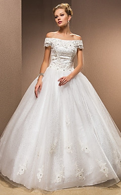 Ball Gown Off-the-shoulder Taffeta Floor-length Wedding Dress