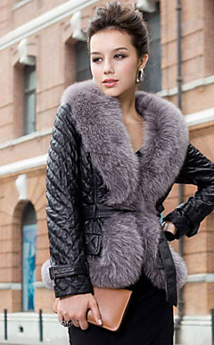 Long Sleeve Fox Fur Shawl Collar Lambskin Leather Casual/Office Jacket