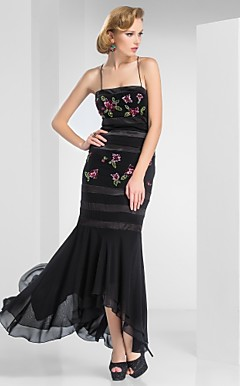 Trumpet/Mermaid Spaghetti Straps Ankle-Length Chiffon Evening Dress