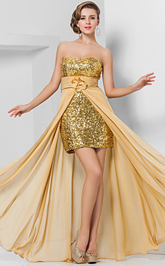 Sheath/Column Sweetheart Floor-length Chiffon And Sequined Evening Dress
