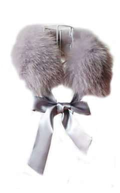 Fox Fur Front Tie Collar With Ribbon (More Colors)
