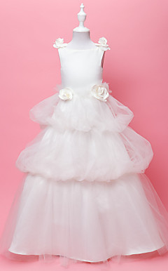 A-line Jewel Floor-length Tulle And Satin Flower Gril Dress