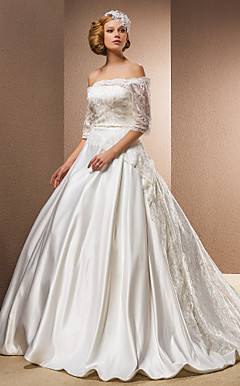 Ball Gown Sweep/Brush Train Wedding Dress With Removable Straps