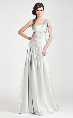 A-line One Shoulder Floor-length Chiffon And Satin Bridesmaid Dress