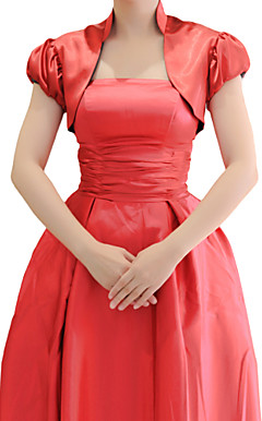 Short Puff Sleeve Satin Evening/Wedding Wrap/Jacket (More Colors)