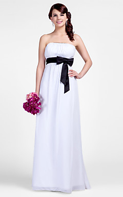 Sheath/Column Strapless Floor-length Chiffon Bridesmaid Dresses