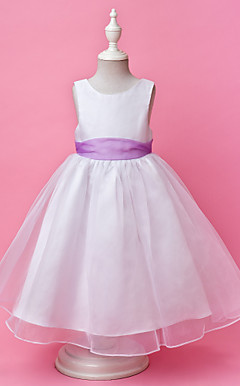 A-line Jewel Floor-length Satin And Organza Flower Girl Dress
