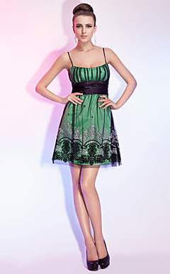 A-line Spaghetti Straps Short/Mini Satin And Tulle Cocktail Dress