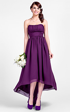 A-line Strapless Asymmetrical Chiffon Bridesmaid Dresses