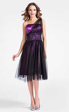 A-line One Shoulder Knee-length Tulle And Stretch Satin Cocktail Dress