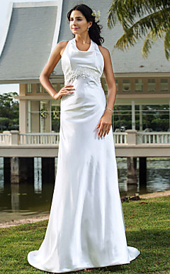 Sheath/Column Cowl Sweep/Brush TrainStretch Satin Wedding Dress