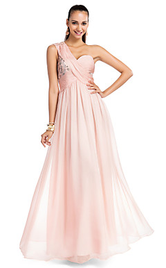 A-line One-shoulder Floor-length Chiffon Elegent Evening Dress