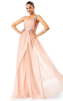 A-line/Princess One Shoulder Floor-length Chiffon Evening Dress