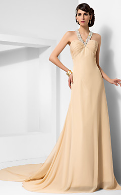 A-line Straps Chapel Train Chiffon Evening Dress