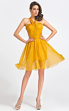 A-line Sweetheart knlange organza cocktail kjole