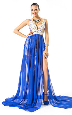 Sheath/Column V-neck Sweep/Brush Train Chiffon And Satin Evening Dress