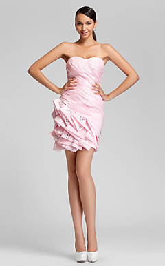 Sheath/Column Sweetheart Short/Mini Taffeta Bridesmaid Dress