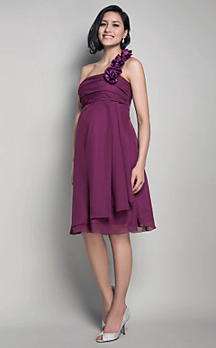 A-line One Shoulder Knee-length Chiffon Maternity Bridesmaid Dress
