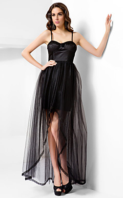 A-line Spaghetti Straps Floor-length Tulle Evening Dress
