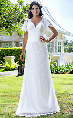 Sheath/Column V-neck Sweep/Brush Train Lace Wedding Dress