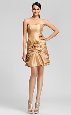 Sheath/Column Strapless Short/Mini Taffeta Bridesmaid Dress