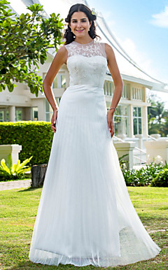 Sheath/Column Jewel Floor-length Tulle Wedding Dress