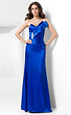 Trumpet/Mermaid V-neck Floor-length Satin Evening Dress