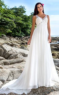A-line V-neck Chapel Train Chiffon Wedding Dress