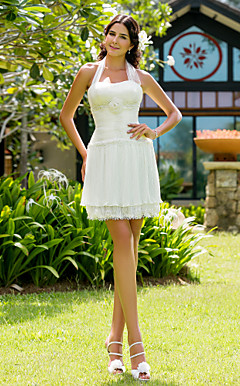 Sheath/Column Halter Short/Mini Chiffon Wedding Dress
