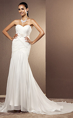 Trumpet/Mermaid Sweetheart Sweep/Brush Train Chiffon Wedding Dress
