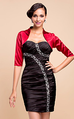 Stylish 3/4 Sleeve Satin Evening/Wedding Wrap/Jacket (More Colors)