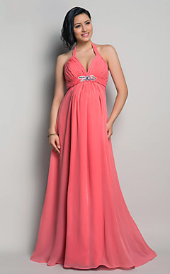Sheath/Column Halter Floor-length Chiffon Maternity Evening Dress