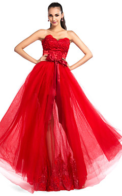 A-line Sweetheart Floor-length Lace and Tulle Evening Dress