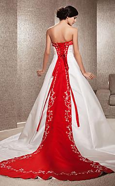الجملة الجملة [XmasSale]فستان الزفاف خط قطار مصلى الساتان حمالة مع التطريز الديكور