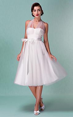 الجملة الجملة فستان الزفاف خط الإمبراطورية طول الركبة تول العنق الخامس الرسن قليلا اللباس الأبيض مع القوس وشاح