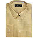 Top Grade Men's Long Sleeve Gingham Wrinkle Dress Shirt (QRJ007-4) -Free Shipping by Air Mail